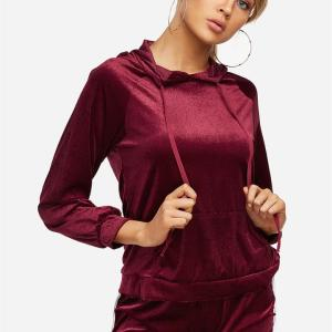 Active Hooded Design Elastic Tracksuit in Burgundy