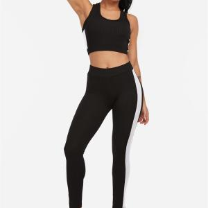 Active Contract Color Sleeveless Tracksuit in Black