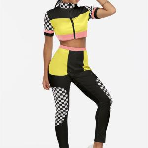 Yellow Zip Design Grid Short Sleeves High-waisted Active Tracksuit
