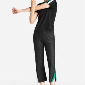 Black Side Pockets Stripe Short Sleeves Slit 2-piece Tracksuit