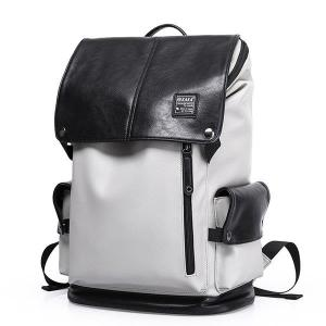 20 Inch PU Leather Backpack Casual Book Bag For Men