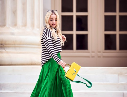 Alena Gidenko of modaprints.com styling a green pleated maxi skirt