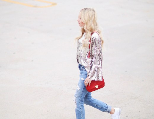 Alena Gidenko of modaprints.com is sharing tips on how to wear a sequin top dressed down