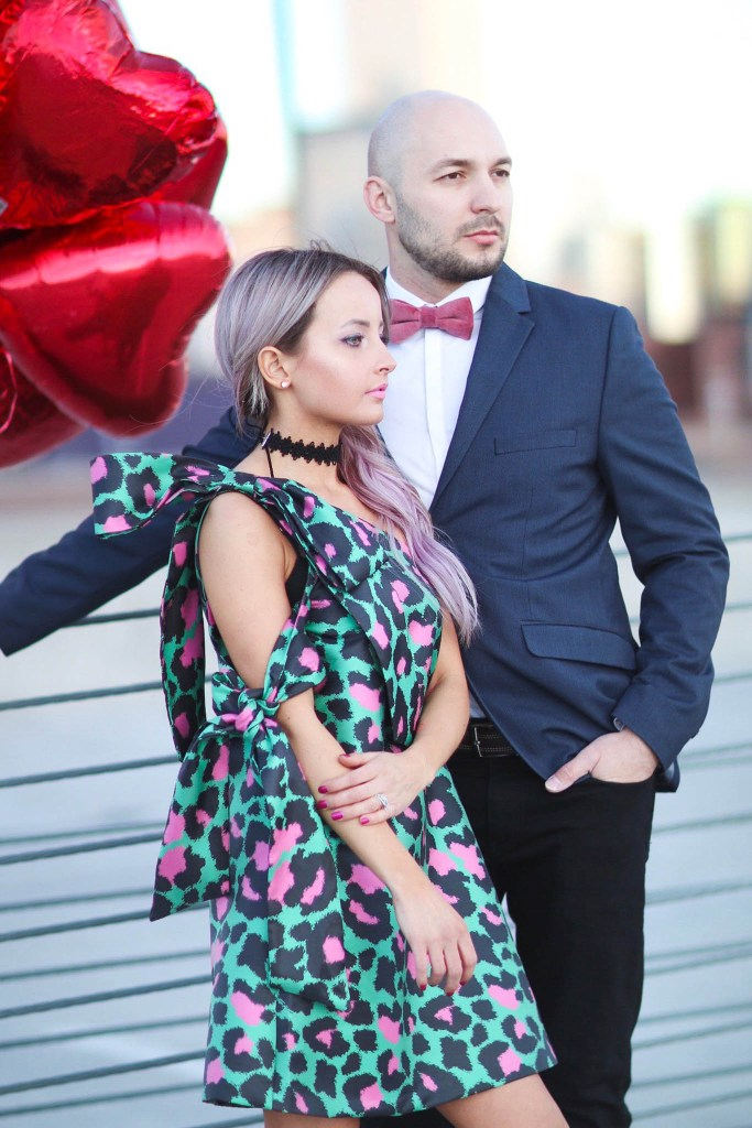 Alena Gidenko of modaprints.com shares a his and her look for a Valentines dinner