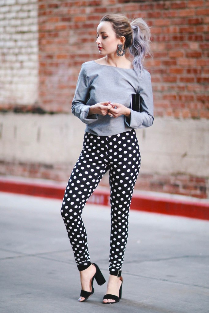 Alena Gidenko of modaprints.com styles polka dot leggings with and open back bow top