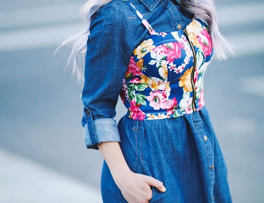 Alena Gidenko of modaprints.com shares tips on layering a denim dress with a floral bustier