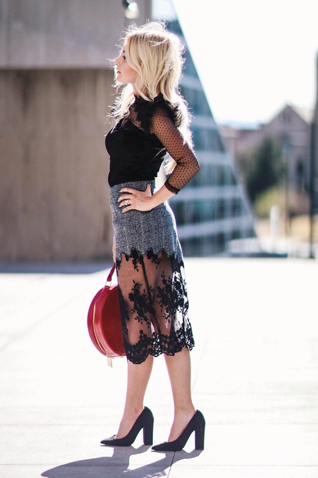 Alena Gidenko of modaprints.com styling a black sheer top with a grey pencil skirt