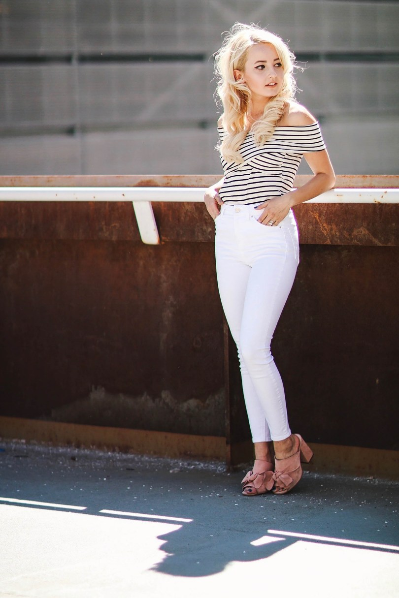 Alena Gidenko of modaprints.com shares tips on styling an off shoulder top for Spring