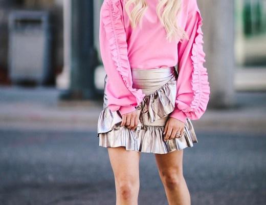 Alena Gidenko of modaprints.com styles a pink ruffle sweater with a silver ruffled skirt