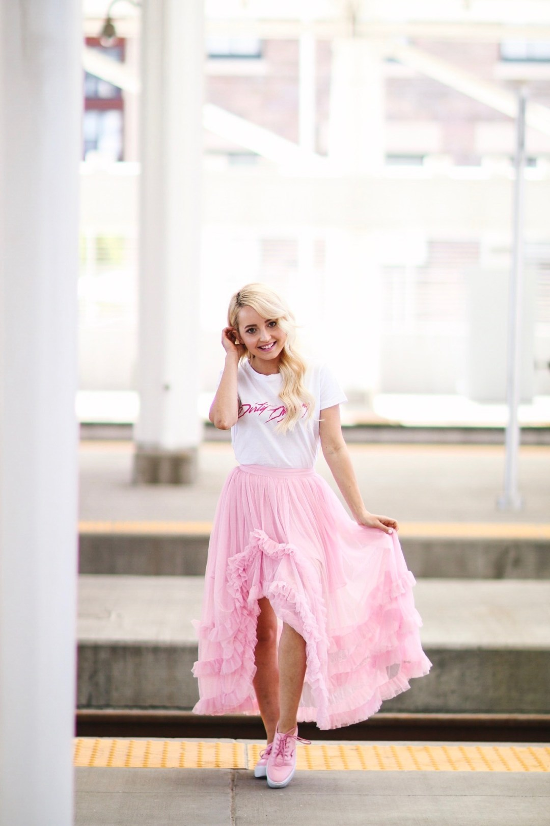 Alena Gidenko of modaprints.com styles a pink tulle skirt from ASOS and for the top a simple dirty dancing tee