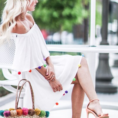 Alena Gidenko from modaprints.com styles an off the shoulder pom pom dress for the beach and shares what coverups you need to take on your beach vacation