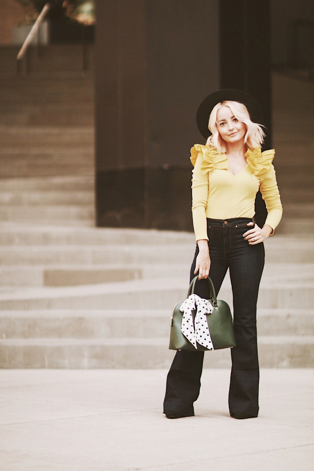 Alena Gidenko of modaprints.com shoes tips on styling flare jeans this Fall