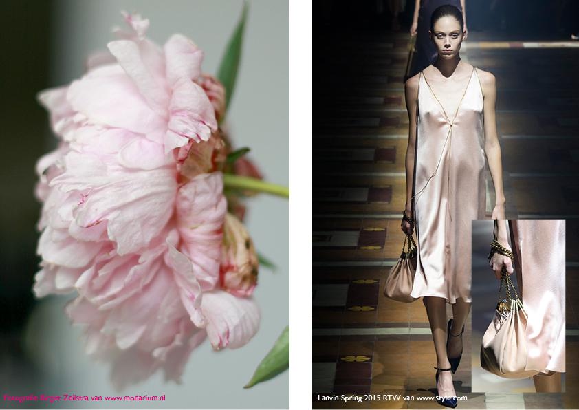 Modarium Think Pink moodboard 09 met afbeeldingen uit de spring 2015 RTW collectie van Lanvin en een roze pioenroos