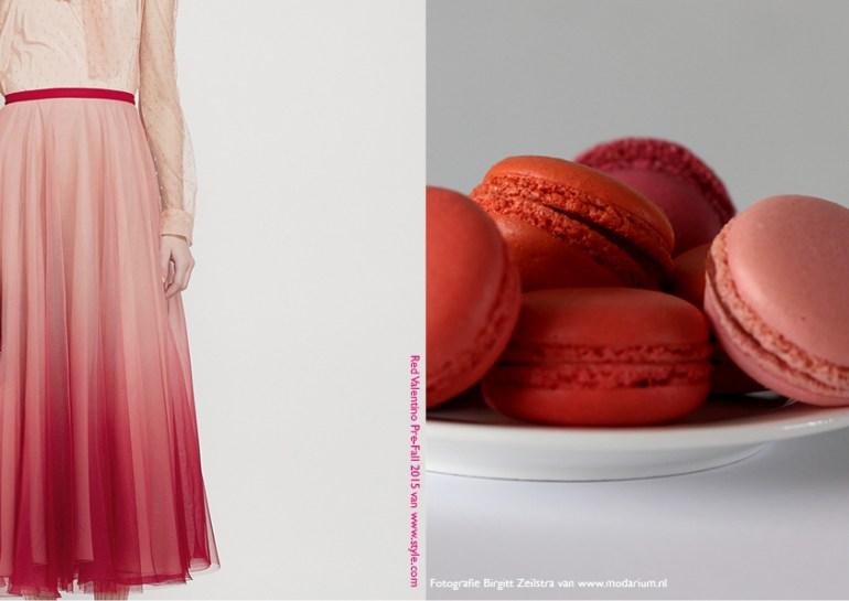 Modarium Think Pink moodboard 11 met een afbeelding uit de pre-fall 2015 collectie van Red Valentino en roze macaroons