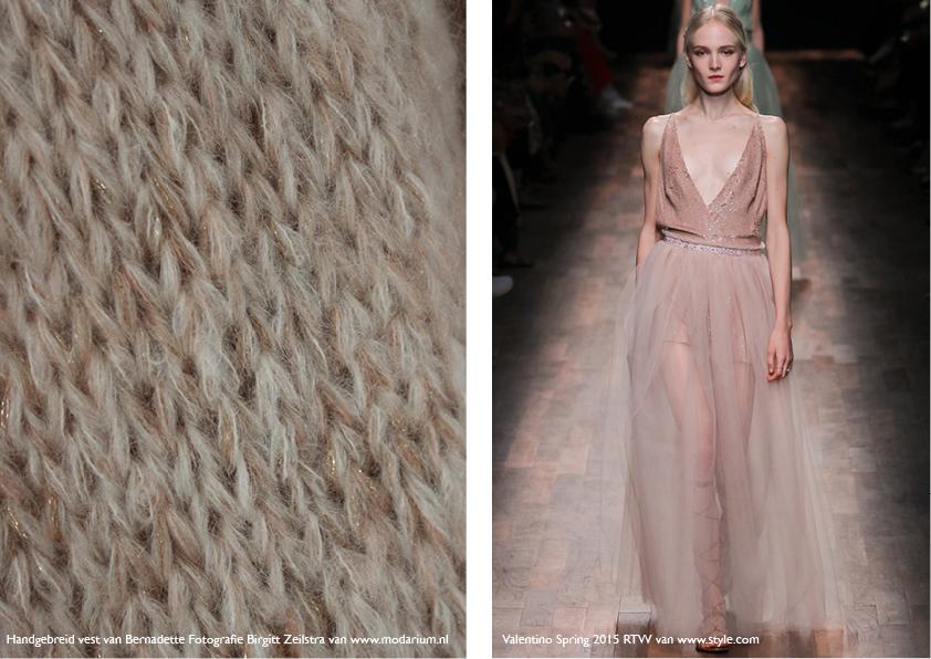 Modarium Think Pink moodboard 17 met een afbeelding uit de spring RTW collectie van Valentino en een roze handgebreid vest van Bernadette