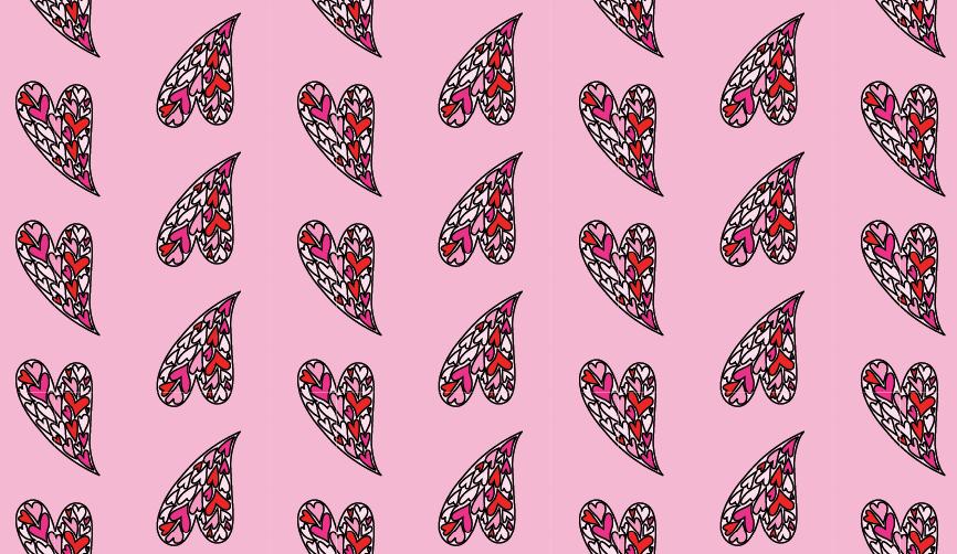 Modarium afbeelding van een dessin in half verzet met een illustratie van geroteerde harten