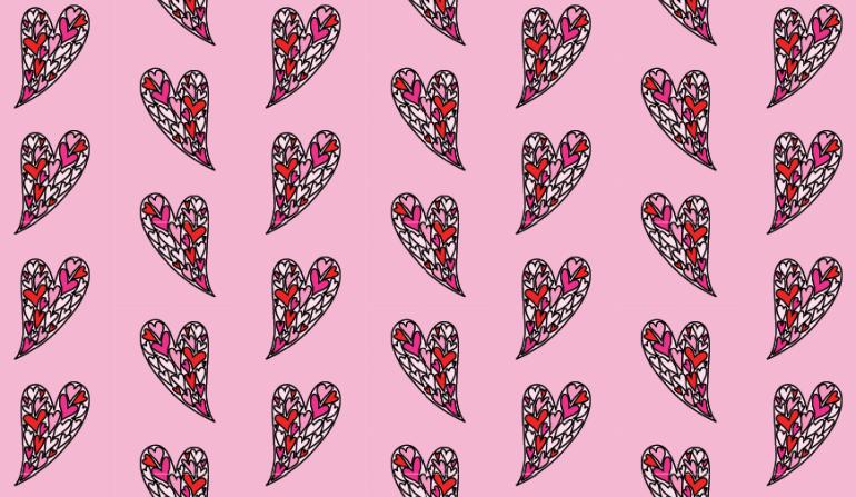 Modarium afbeelding van een dessin in half verzet met een illustratie van gespiegelde harten