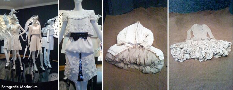 Modarium collage van beelden van de tentoostelling Haute Couture: Voici Paris 01