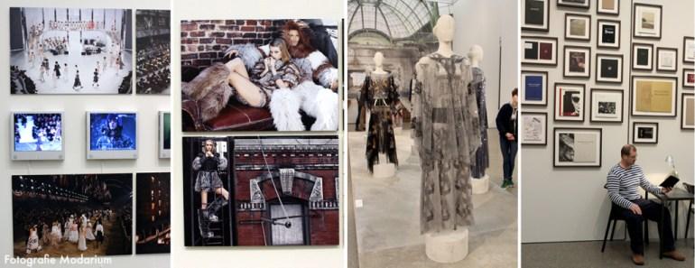 Modarium collage van beelden van de tentoonstelling KARL LAGERFELD: Parallele Gegensätze
