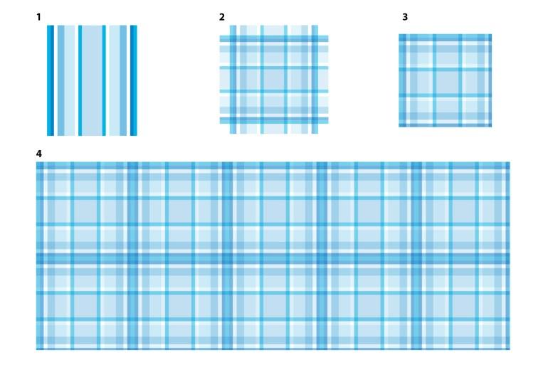 Modarium beeld van een blauw ruitdessin gemaakt in Photoshop