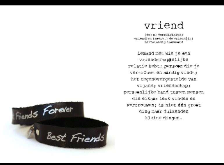 Modiste leren armbandje met wens Best Friends Forever of BFF