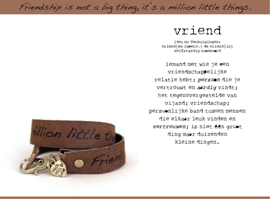 Modiste leren armbandje met wens Friendship of Vriendschap
