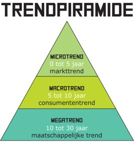 Modarium illustratie van de trendpiramide met microtrend, macrotrend en megatrend