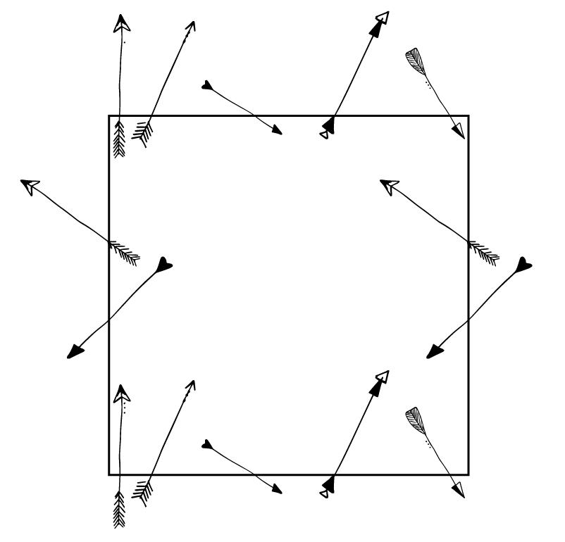 MODARIUM onregelmatig strooimotief pijlen langs randen