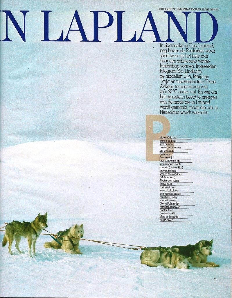 Fotografie door Kai Lindholm in 1982 oktober Avenue België Avontuur in Lapland pagina 25 met een schitterend sneeuwlandschap met slede en sledehonden