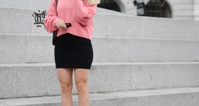 Grey weather – pink sweater