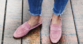 In my pink suede loafers
