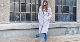 wool coat, suede loafers and bare ankles
