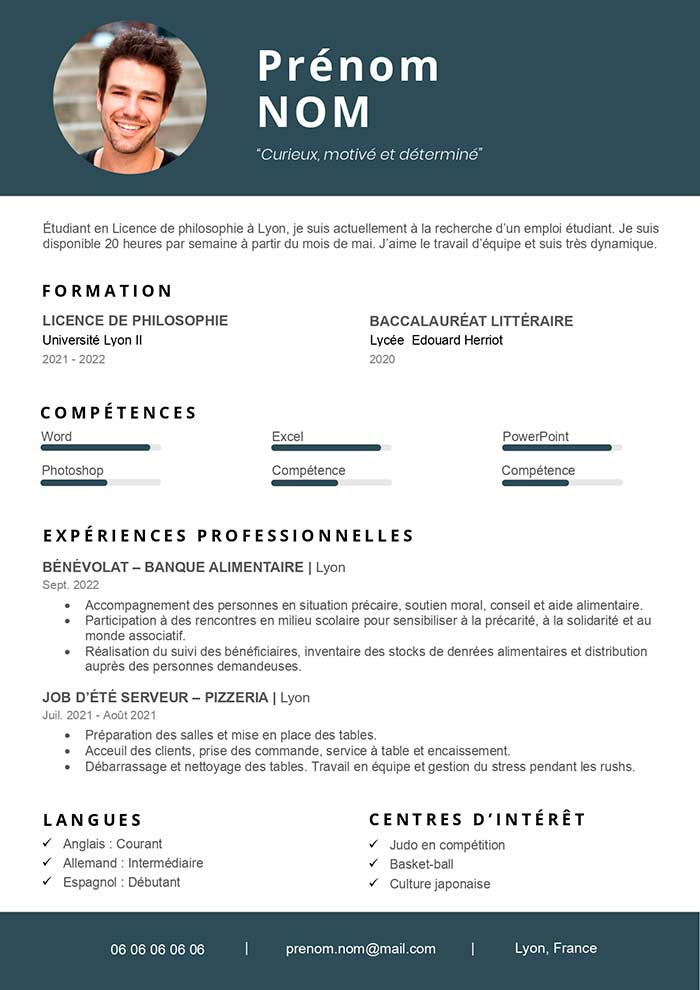 Exemple De Cv Pour Job étudiant Gratuit à Télécharger Cv Word