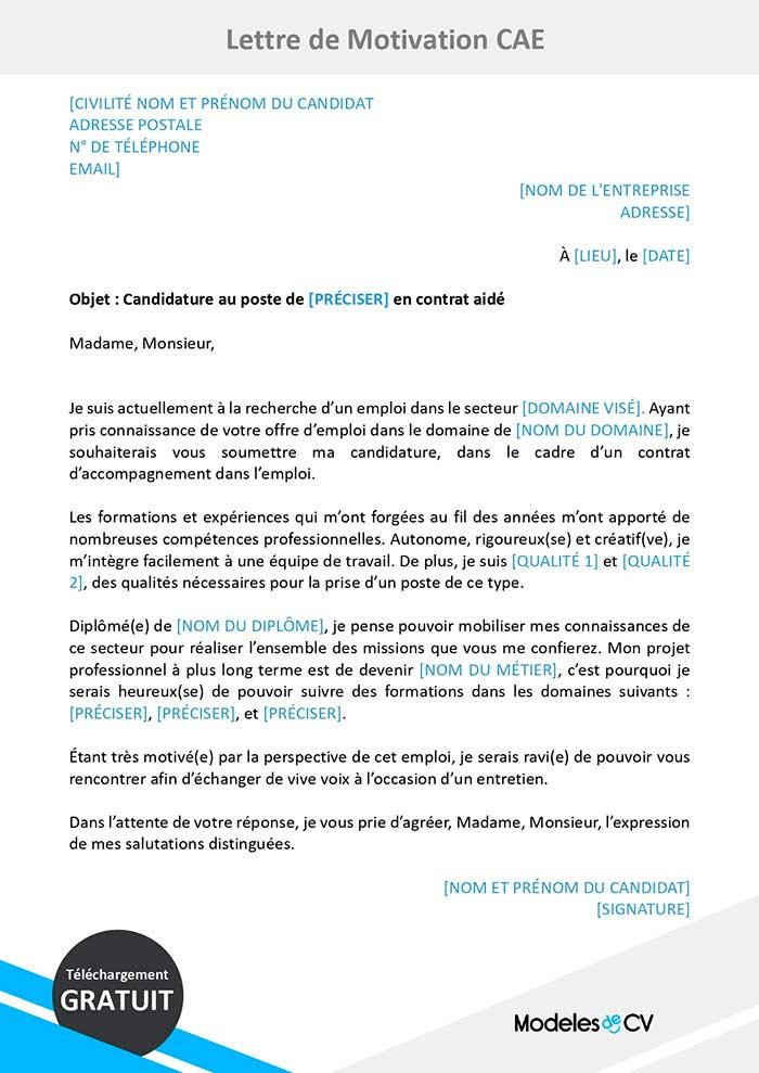 Exemple De Lettre De Motivation Pour Un Contrat Aide Cae
