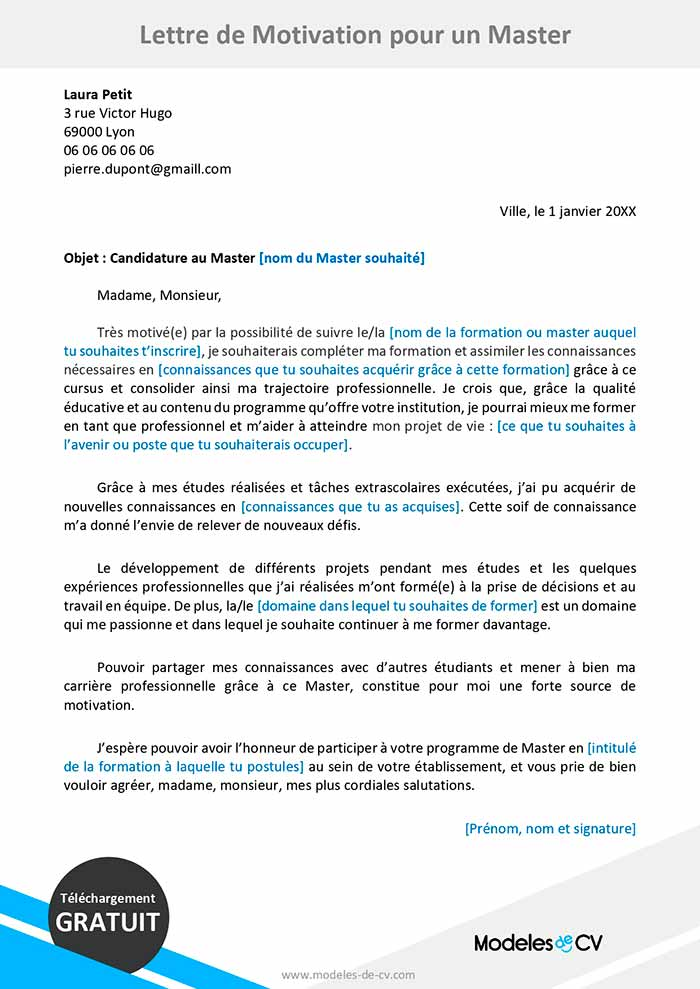 Exemple De Lettre De Motivation Pour Un Master Lettres Gratuites