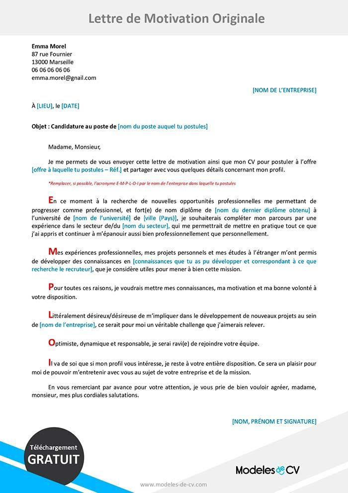Exemple De Lettre De Motivation Originale Cv Et Lettres Word