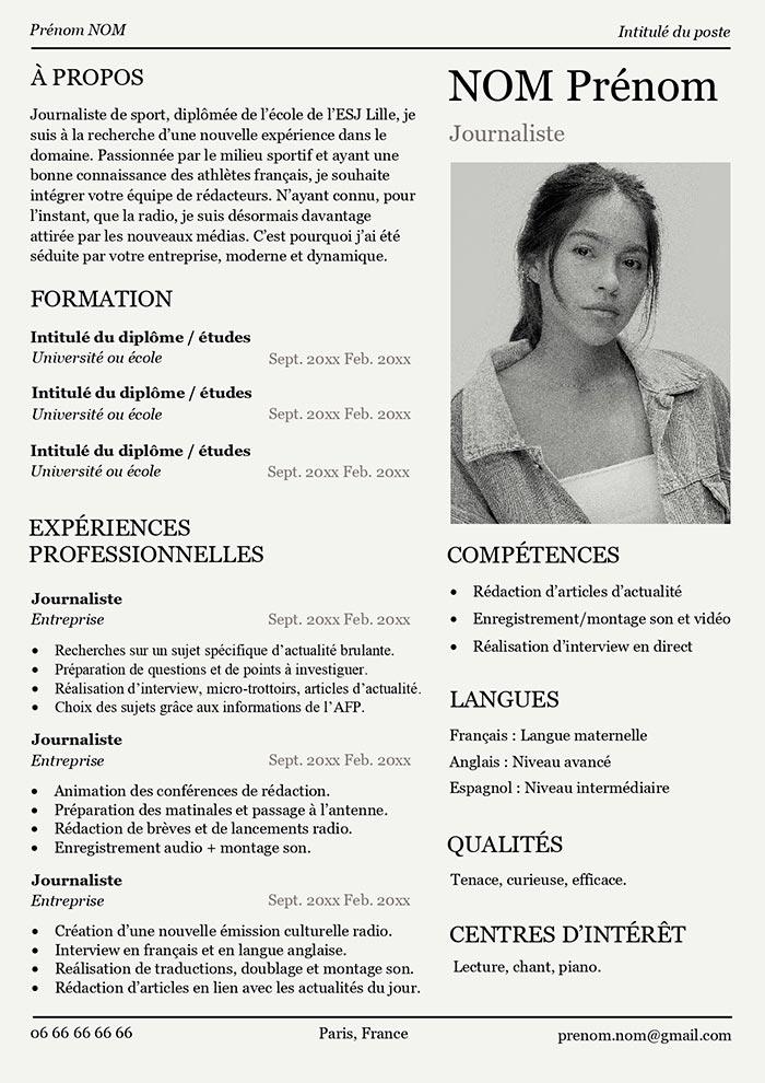 Modele De Cv Original Pour Journaliste Telecharger Gratuit