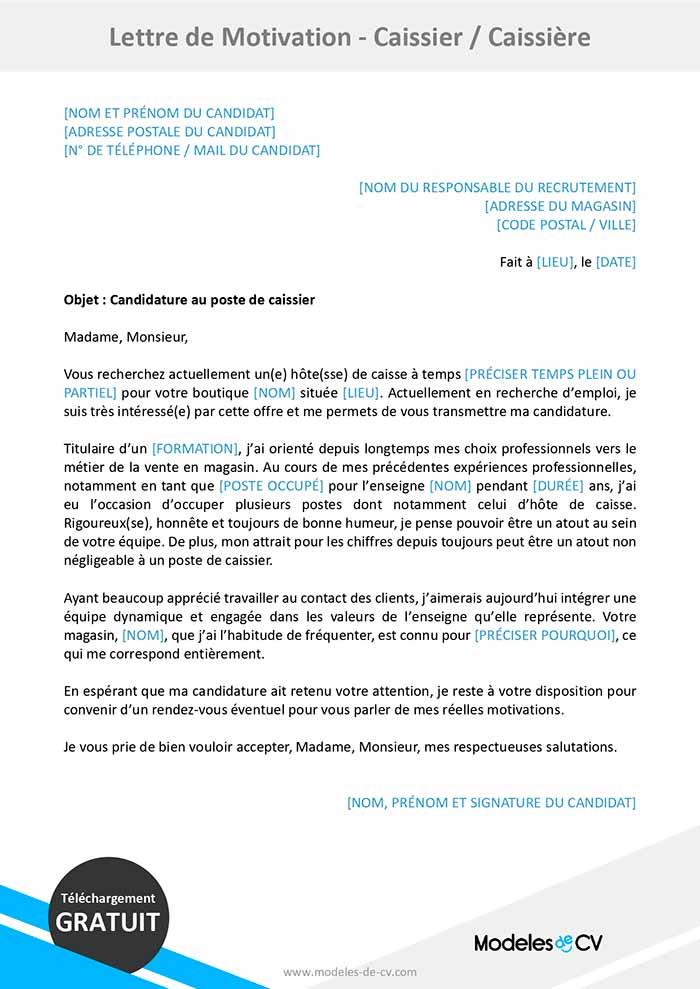 Lettre De Motivation Pour Caissiere Caissier Exemple Gratuit