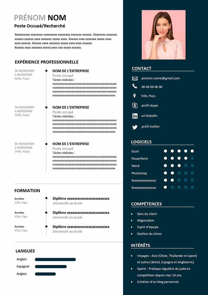 Modele De Cv Reconversion Professionnelle Telecharger Gratuit