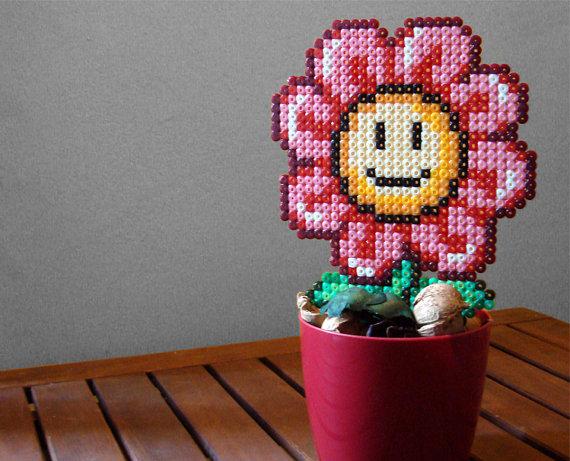 fleurs en pot mario perles hama diy