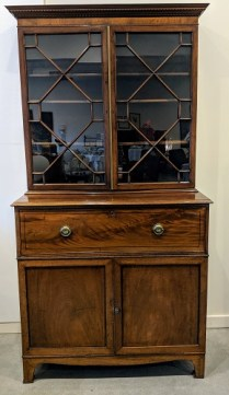 """Antique English secretary, purchased from Jean Williams Antiques 25-30 yrs. ago. Drop front desk, fretwork glass doors. 43.25""""w x 22.25""""d x 83.25""""h. Orig. List: $5000.- Modele's Price: 2250.-"""