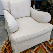 """**ITEM NOW SOLD** Baker lounge chair, purchased from the Baker showroom in Chicago 10 years ago. 35.5""""w x 41'd x 32'h. Orig. List: $2,600. Modele's Price: 495.-"""