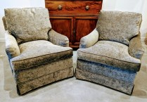 "**ITEM NOW SOLD** Pair Baker lounge chairs. Purchased from Masins, very light use, 8 years old. 32.5""w x 37""d x 42.5""h 1595.- pair"