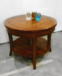 **ITEM NOW SOLD**Bausman and Company Side Table. Purchased in 2010 through designer. Lightly distressed fruitwood finish. Original List: $2470.- Modele's Price: 850.-