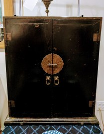 **ITEM NOW SOLD**Black Lacquer Document Chest. Purchased from Elliot Bay Antiques. One shelf and two drawers. 325.-