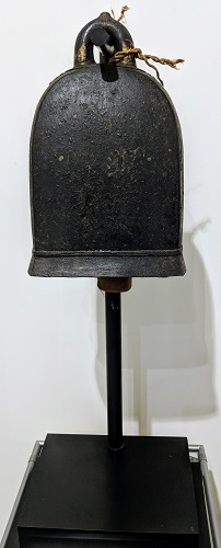 """19th century Burmese bronze elephant bell on custom stand, from the Jane Piper Reid Collection. 29.25""""h. Orig. List: $2,476. Modele's Price: 950.-"""