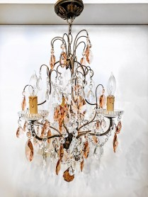 **ITEM NOW SOLD**Vintage Crystal Chandelier. age/ Origin unknown. 3lights.Includes chain.395.-