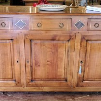 ** ITEM NOW SOLD.**Cherry wood buffet by French manufacturer. Purchased in 2001 in Washington D.C from 'Tradition de France'. Cherry wood with wood and brass inlay detail. Original List: over $3500.-. Modele's Price:1500.-