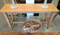 **ITEM NOW SOLD**Crate and Barrel console table. Discontinued style. Aged/distressed patina. Original list: $595.- Modele's Price:295.-