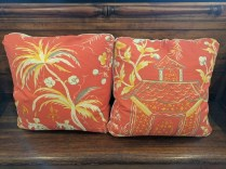 **ITEM NOW SOLD**Pair Custom Coral Cushions. 150.- pair